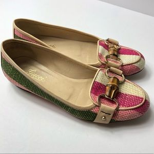 Gucci Loafers Woven Straw Pink Leather Flats Shoes